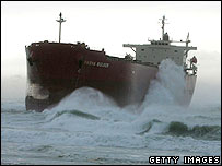Huge waves hit coal ship the Pasha Bulker as it sits off Nobbys Beach June 8, 2007 in Newcastle, Australia.