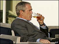 President Bush having a drink