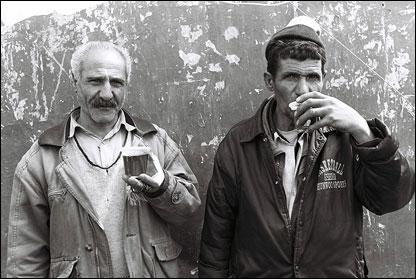 Here men enjoy glasses of tea in the Tajrish district.