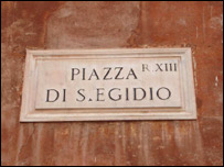 The sign marking the square of Sant'Egidio