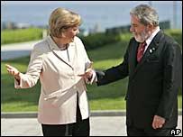 Canciller alemana, Angela Merkel, y presidente de Brasil, Lula Da Silva