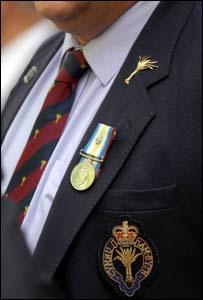 A veteran at the memorial service
