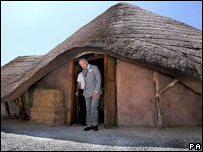 The prince visited an Iron Age roundhouse in Anglesey