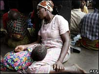 Aids orphan with grandmother in Malawi - October 2005 photo