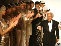 Ralph Lauren and models on catwalk at fashion show