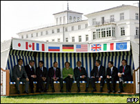 The leaders of G8 sit in a beach chair at Heiligendamm