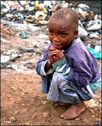 A Kenyan child in the Kibera slum in Nairobi in 2006