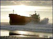 The Pasha Bulker sits aground on Nobby's Beach in Newcastle