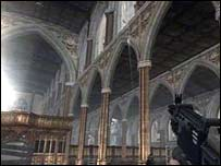 Sony Playstation scene of the interior of Manchester Cathedral