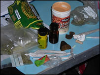 Drugs seized by police at the festival