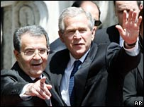 Romano Prodi and George W Bush
