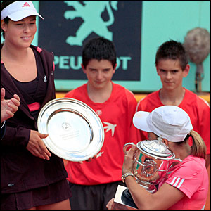 Ana Ivanovic and Justine Henin