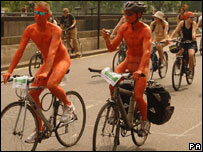 Naked cyclists in London
