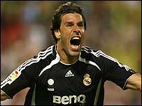 Ruud van Nistelrooy celebrates a goal against Real Zaragoza
