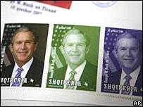 Албанские почтовые марки с портретом президента США Джорджа Буша