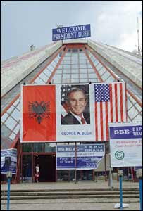 A poster of US President George W Bush in Tirana. Photo: Nick Hawton