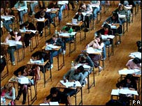 Teenagers taking exam