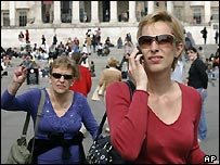 Women with phones