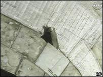 Foto de la Nasa mostrando el desperfecto en el Atlantis