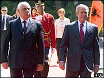 Albanian President Alfred Moisiu (left) and US President George W Bush in Tirana
