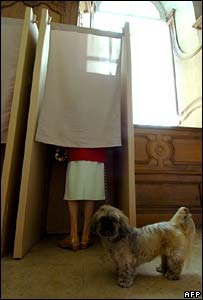Woman voting in Caen, north-west France