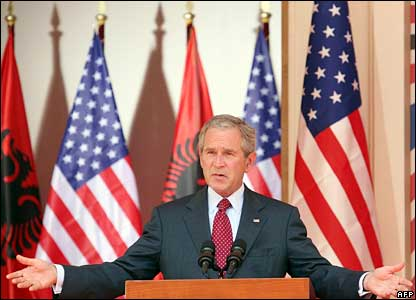 President Bush speaks at a news conference in Tirana