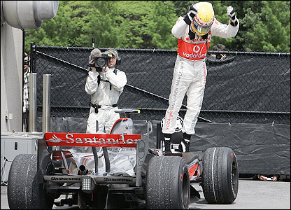 Hamilton celebrates victory