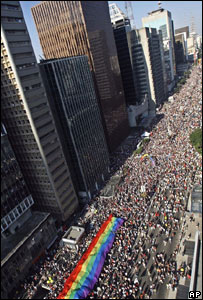 The Gay Pride march in Sao Paulo, Brazil