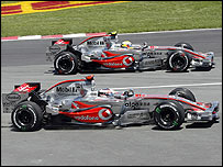 Fernando Alonso and Lewis Hamilton during the Canadian Grand Prix