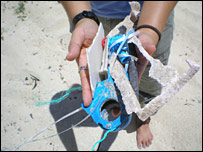 Rubbish collected on Hawaiian beach