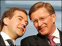 Deputy PMs Dmitry Medvedev (left) and Sergei Ivanov