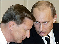 Deputy PM Sergei Ivanov with President Vladimir Putin