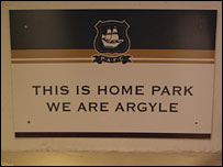 A sign at Plymouth's Home Park ground