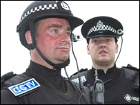 Officers wearing head-cameras