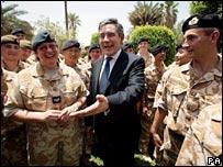 Gordon Brown meets troops in Baghdad