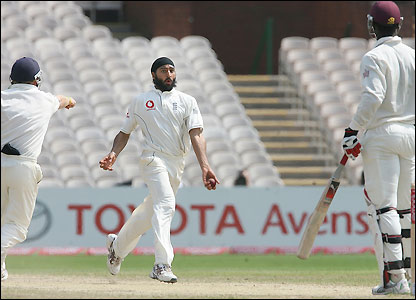 Panesar celebrates his second wicket