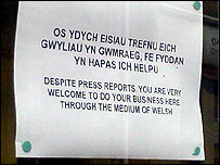 Sign in window of Thomas Cook, Bangor