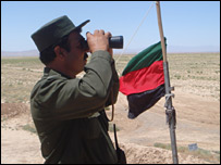 Border guard scanning Iranian territory