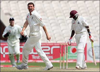 Harmison celebrates his wicket