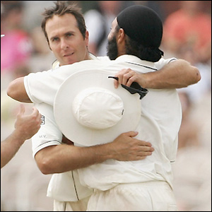 Vaughan celebrates with Panesar