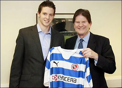 Greg Halford poses with Reading chairman John Madejski