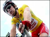 Bradley Wiggins rides in the first stage of the Dauphine Libere