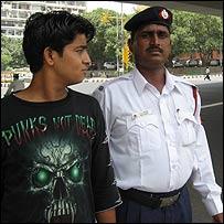 Deepak Gupta with police officer