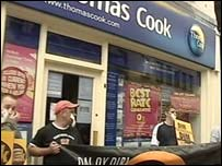Protesters outside Thomas Cook