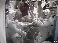 Shuttle astronauts prepare for spacewalk - 11/06/2007