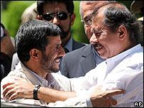 Mahmud Ahmadinejad, presidente de Irán y su homólogo de Nicaragua, Daniel Ortega