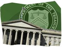 The US Treasury Headquarters and its logo