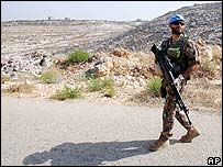 UN soldier on patrol in southern Lebanon (File pic, September 2006)