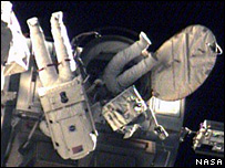 Astronauts on Monday's spacewalk, Nasa