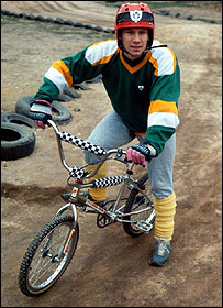 Blue Peter's Peter Duncan on a BMX